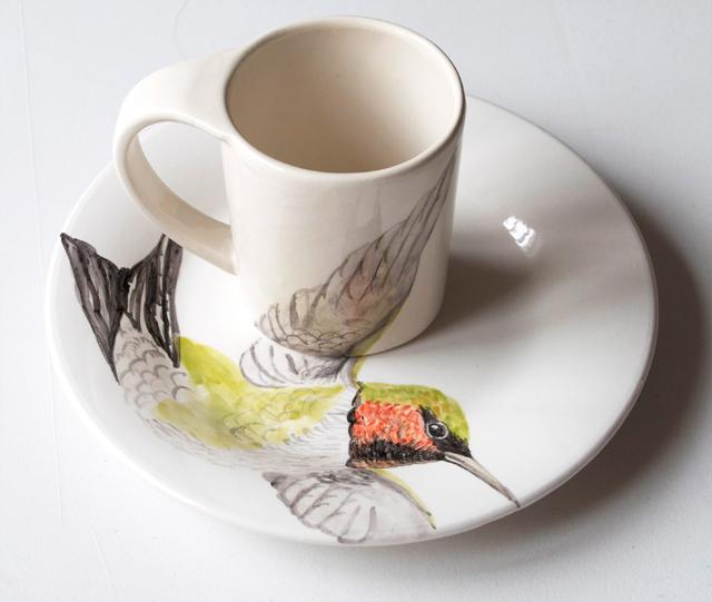 Juego de taza de colibrí